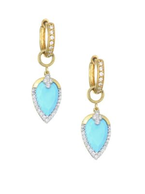 JUDE FRANCES Provence Diamond Pavé, Turquoise & 18K Yellow Gold Earring Charms