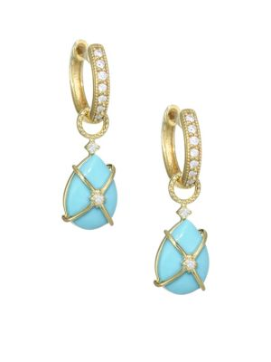 Diamond, Turquoise & 18K Yellow Gold Earring Charms
