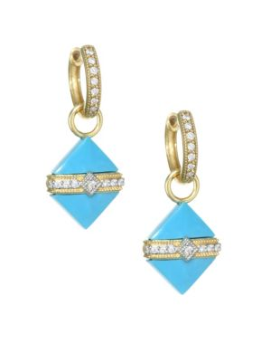 18K Yellow Gold & Diamond Wrap Square Turquoise Stone Earring Charms