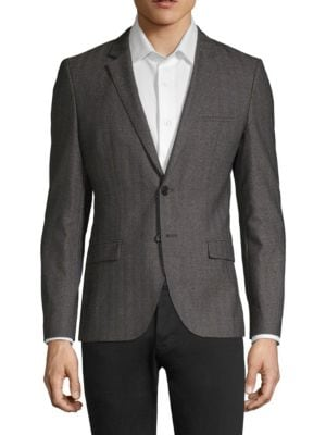 HUGO BOSS Arti Stripe Herringbone Virgin Wool Jacket