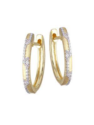 JUDE FRANCES Lisse Uptown Oval Diamond & 18K Yellow Gold Hoop Earrings