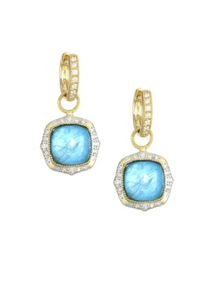 JUDE FRANCES Moroccan Light Apatite, Mother of Pearl, Clear Quartz Triplet, Diamond & 18K Yellow Gold Charm Earri