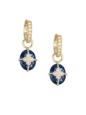 JUDE FRANCES Lisse Oval London Blue Topaz, Diamond & 18K Yellow Gold Charm Earrings