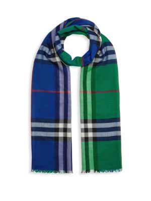 Colorblock Check Wool & Silk Scarf