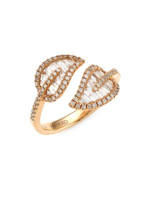 Small 18K Rose Gold & Diamond Baguette Leaf Ring