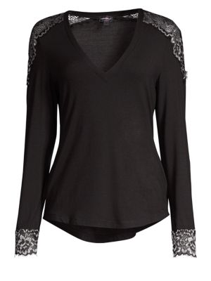 Lace-Trimmed Lounge Top