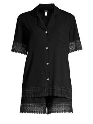 Lunna Lace-Trimmed Boxer Pajama Set