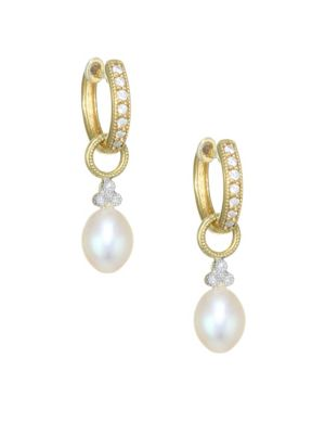 JUDE FRANCES Provence Pearl, Diamond & 18K Yellow Gold Champagne Briolette Earrings