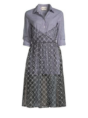 SANDY LIANG Muse Gingham Tulle Overlay Shirtdress