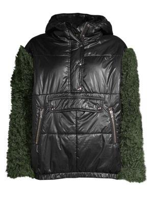 SANDY LIANG Shearling Sleeve Puffer Jacket