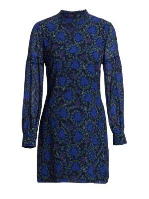 Floral-Print Silk A-Line Dress