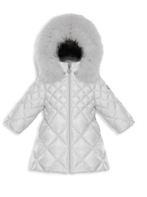 Baby Girl's & Little Girl's Fur-Trim Quilted Parka