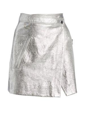 Metallic Leather Wrap Mini Skirt
