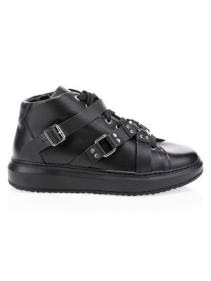 Buckle High-Top Leather Sneakers