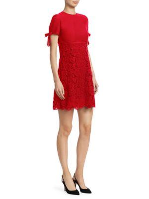 Bow-Sleeve Virgin Wool & Silk Lace A-Line Dress