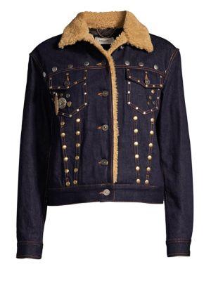 Coach 1941 Faux-Shearling Trimmed Denim Jacket