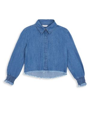 Girl's Ashley Denim Fray Shirt