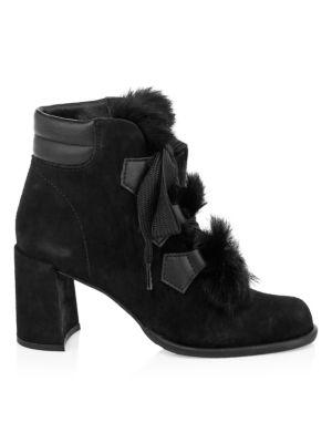 PEDRO GARCIA Wilmette Fur Trim Block Heel Booties