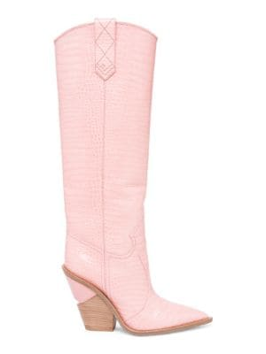 Stamped Croc Leather Knee-High Cowboy Boots