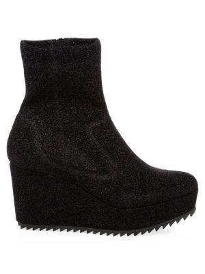 Urika Leather Wedge Booties