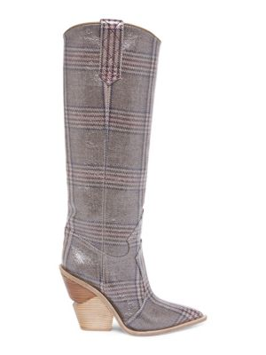 Plaid Leather Tall Boots