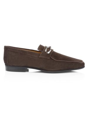 Cannes 2 Brown Suede Loafer With Silver Finished Double C Logo Hardware