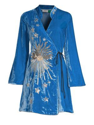 RIXO LONDON Iris Embellished Velvet Dress