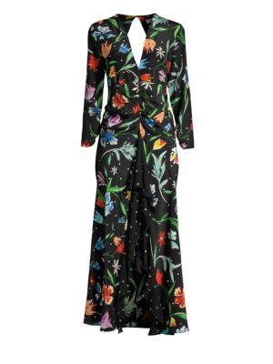 RIXO LONDON Floral Polka Dot Ruffle Dress