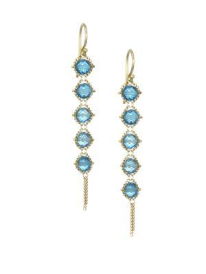 AMALI | 18K Yellow Gold & Topaz Tiered Drop Earrings | Goxip