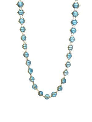 AMALI 18K Yellow Gold & Topaz Woven Necklace