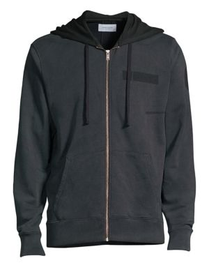 OVADIA & SONS Washed Cotton Zip-Up Hoodie