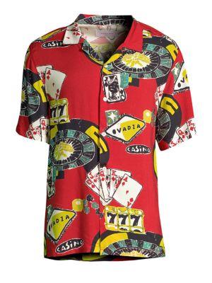 OVADIA & SONS Casino Print Beach Shirt