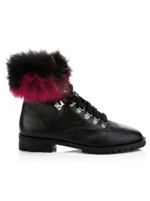 Jaylin Leather & Fur Hiking Boots