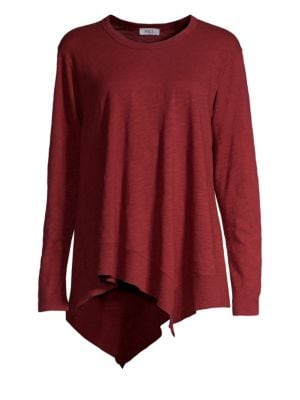 Asymmetric Ribbed Long-Sleeve Shirt