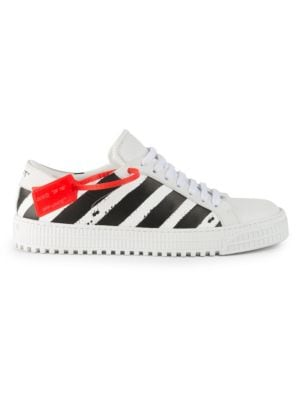 Diagonal Stripe Leather Sneakers