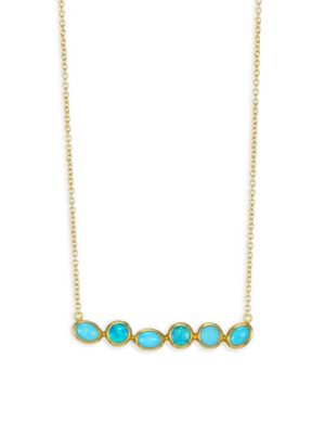 GURHAN Pointelle Hue 24K Yellow Gold, Opal & Turquoise Bar Necklace