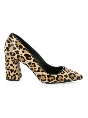 Demetra Leopard-Print Calf Fur Pumps