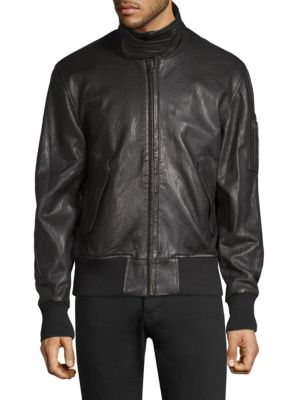 Leather Military Bomber