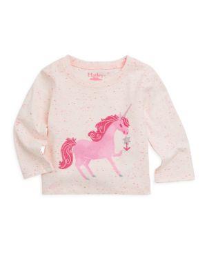 Baby Girl's Curious Unicorn Long-Sleeve Top