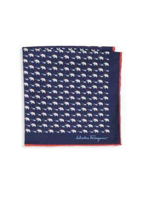 Elephant & Mouse Silk Pocket Square