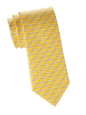 Elephant & Mouse Silk Tie