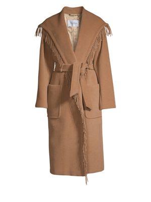 Pacos Fringe Trim Belted Camel Hair Coat