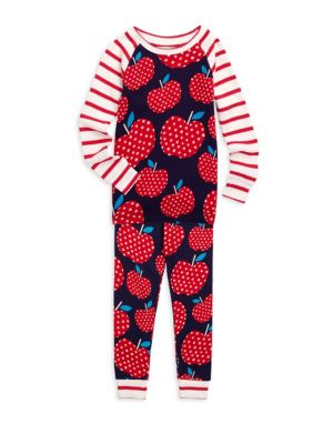 Little Girl's & Girl's Two-Piece Polka Dot Apple Pajama Set