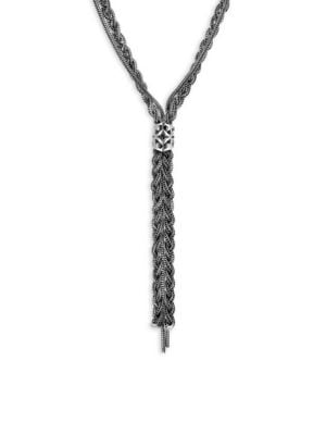 Braided Sterling Silver Lariat Necklace