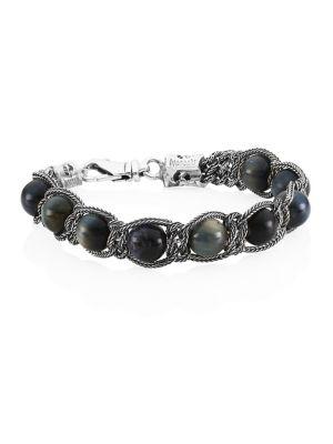 Sterling Silver & Turquoise Beaded Bracelet