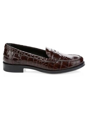 Gomma Consignment Croc-Embossed Leather Loafers