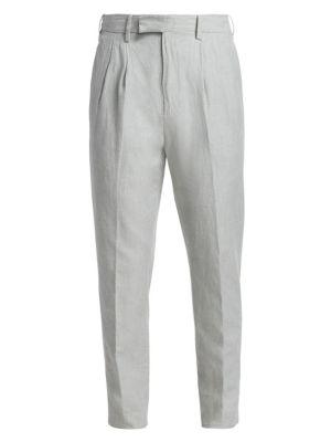 Pleated Cotton & Linen Pants