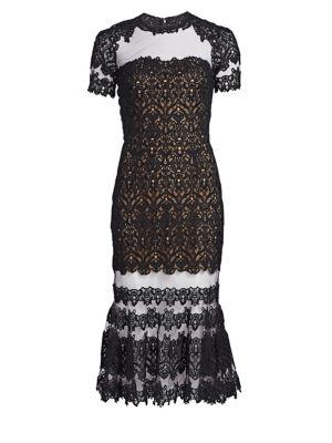 Guipure Illusion Lace Midi Dress
