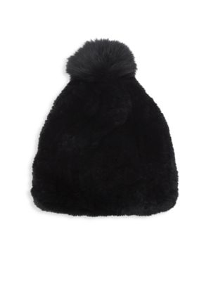 Rex Rabbit Fur & Fox Fur Pom Pom Beanie