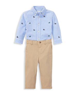 Baby Boy's Two-Piece Striped Oxford Mesh Shirt & Stretch Chinos Set